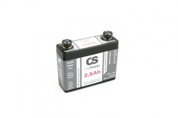 Lithium LiFePO4 Motorrad Starter Batterie -LitePOWER- mit Balancer 12V / 2,5Ah -130CA- 110x38x98mm ~