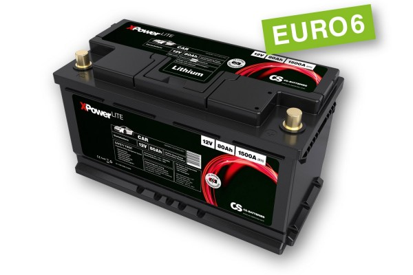 Lithium LiFePo4 Auto Starter Batterie 12V / 80Ah BMS -1200A(EN) Peak -Euro6-