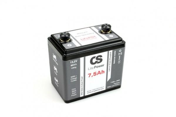 Lithium LiFePO4 Motorrad Starter Batterie -LitePOWER- mit Balancer 12V / 7,5Ah -390CA- 120x80x118mm