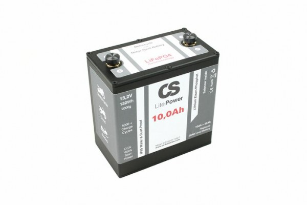 Lithium LiFePO4 Motorrad Starter Batterie -LitePOWER- mit Balancer 12V / 10Ah -600CA- 151x87x150mm ~