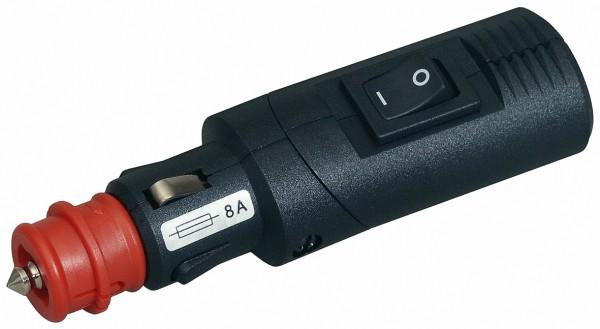Winkelbarer Sicherheits-Universalstecker 8 A mit Zugentlastung und Wippenschalter
