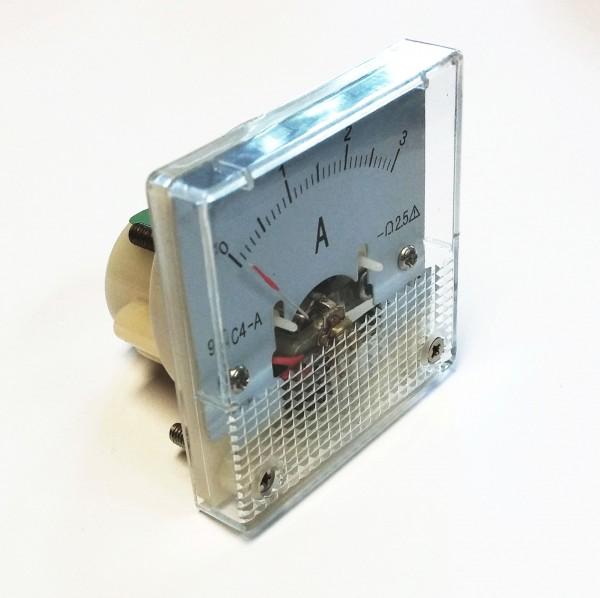 Analoges Einbau-Amperemeter DC 0-3 A