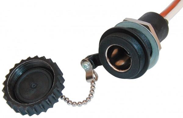Wasserdichte DIN-Einbausteckdose 12-24 V 16 A mit Deckel