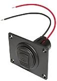 Power USB Einbausteckdose 12-24V DC / mit Deckel und Montageplatte