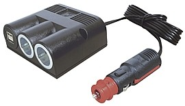 Dreifachsteckdose mit 1 Power USB Doppelsteckdose, 2 Power Steckdosen und Universalstecker