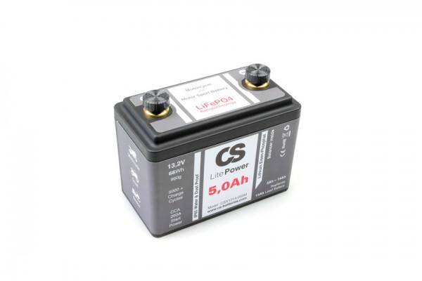 Lithium LiFePO4 Motorrad Starter Batterie -LitePOWER- mit Balancer 12V / 5,0Ah -260CA- 120x65x97mm ~