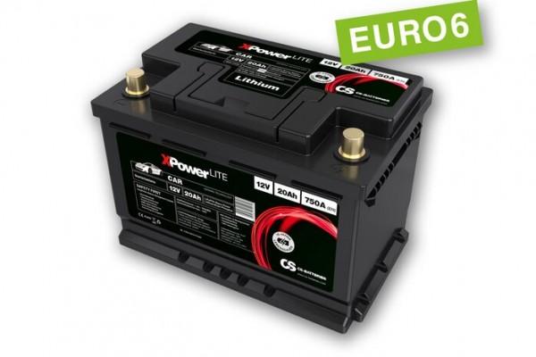 Lithium LiFePo4 Auto Starter Batterie 12V / 20Ah BMS -750A(EN) Peak -Euro6-