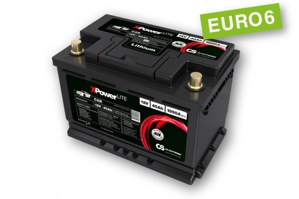 Lithium LiFePo4 Auto Starter Batterie 12V / 40Ah BMS -1000A(EN) Peak -Euro6-
