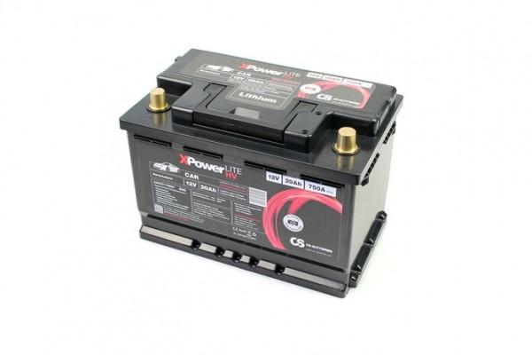 Lithium LiFePO4 Auto Batterie 12V / 20Ah BMS -750A(EN) Peak 279 x 175 x 189mm ~3,6kg-/ Pb-eq 72AH -R