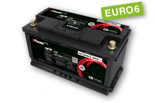 Lithium LiFePo4 Auto Starter Batterie 12V / 60Ah BMS -1200A(EN) Peak -Euro6-